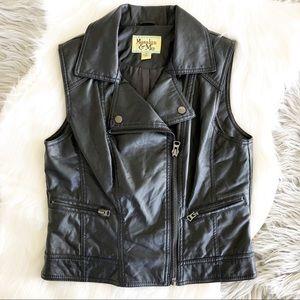 Maralyn & Me Black Moto Style Vegan Leather Vest
